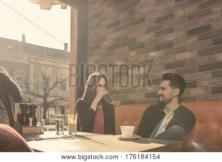 Young Man Woman Smiling Talking Lifestyle Sitting Caffe Indoors