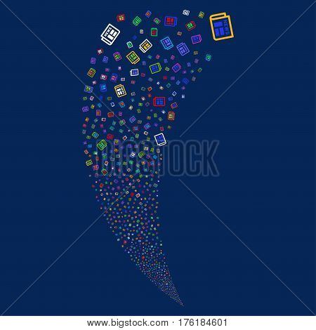 Newspaper random fireworks stream. Vector illustration style is flat bright multicolored iconic symbols on a blue background. Object fountain made from scattered pictograms.