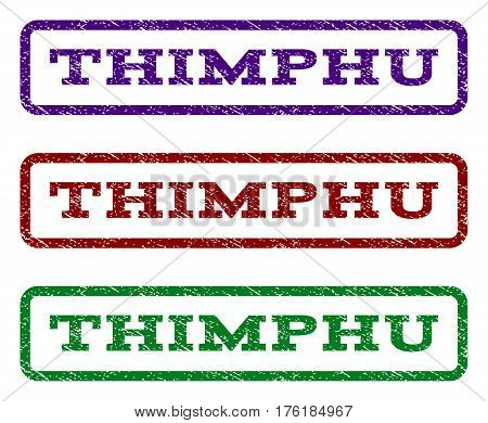 Thimphu watermark stamp. Text tag inside rounded rectangle with grunge design style. Vector variants are indigo blue, red, green ink colors. Rubber seal stamp with scratched texture.