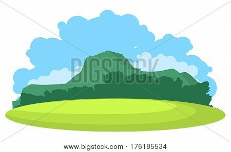 vector illustration horizontal landscape summer day mountains on the horizon in plain videde semicircular plateau