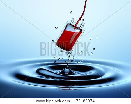 Water drop blending into a blood bag - 3D Rendering