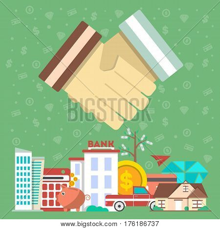 Investing in future concept with shaking hands vector illustration. Flat design for smart investment, finance and banking, commercial real estate, strategic management, financial analysis and planning