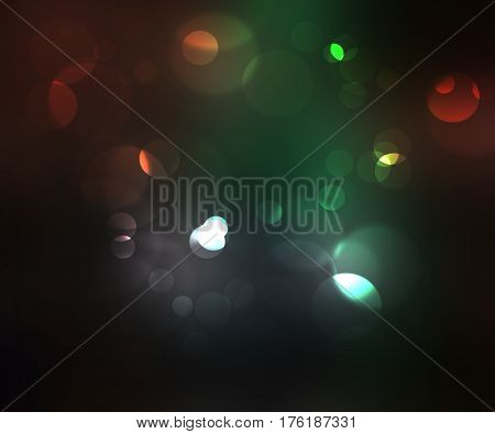 Abstract  colorful light bokeh on dark background