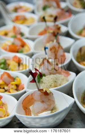 appetizers Party food served on silver platter