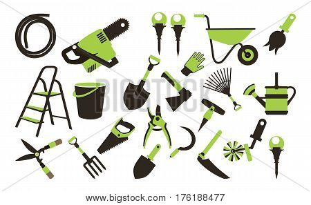Vector illustration set of icons of garden tools work equipment on a white background