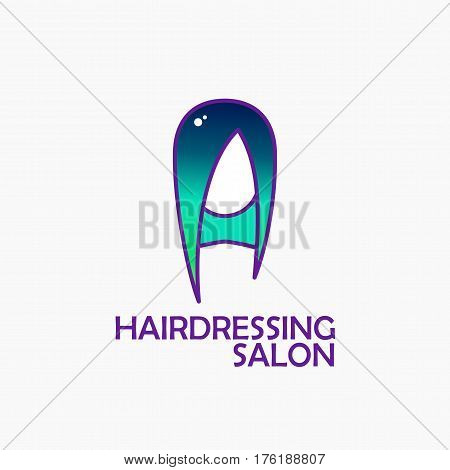 Dyed hair logo. The head of a woman with a modern haircut, coloring in a fashionable color. Beauty Fashion head for hairdressers, hair salons, hair salons, spas, hair dyes, beauty studios