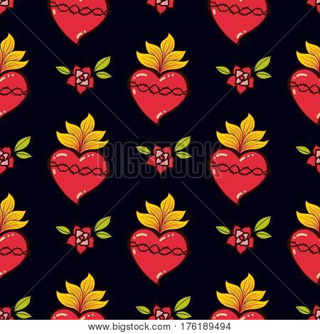 Sacred Heart seamless pattern old schooll tattoo style. Hand drawn vector for T-shirt, love vintage poster. Philosophy wrapping paper, textile, fabric religion,  spirituality,  magic.