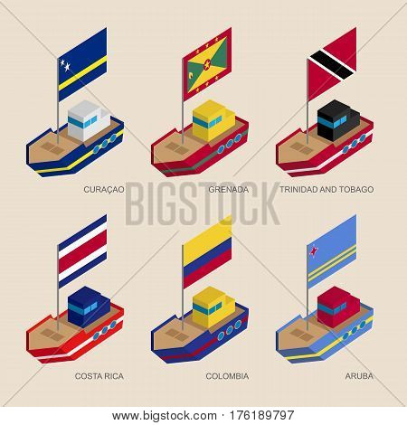 Isometric Ships With Flags: Curacao, Grenada, Costa Rica, Colombia, Aruba
