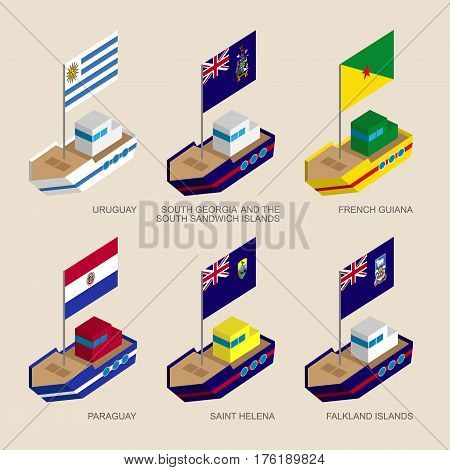Set Of Isometric Ships With Flags Of South America Countries