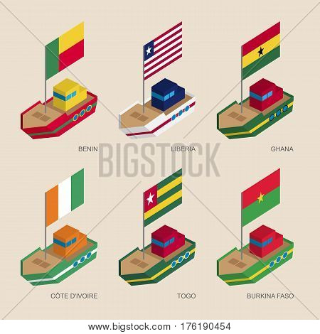 Set Of Isometric Ships With Flags Of African Countries