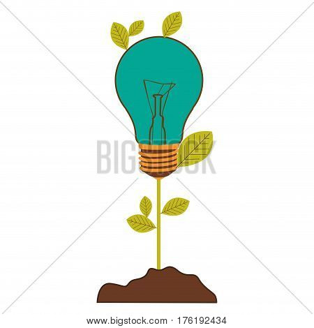 plant stem with leaves and Incandescent bulb with light turquoise vector illustration