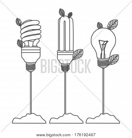 grayscale contour with Incandescent and fluorescent bulbs with stem and leaves vector illustration