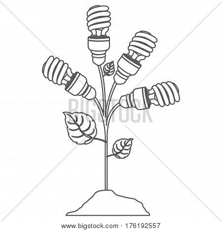 grayscale contour with plant stem with leaves and fluorescent bulbs spiral vector illustration