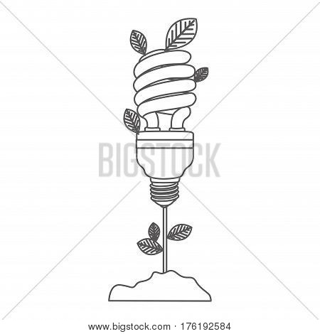 grayscale contour with plant stem with leaves and fluorescent bulb spiral vector illustration