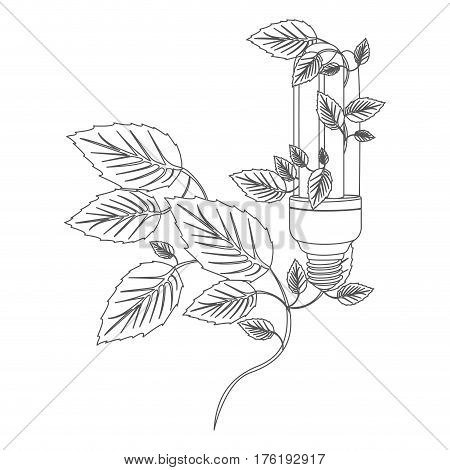 grayscale contour with fluorescent bulb and creeper plant vector illustration