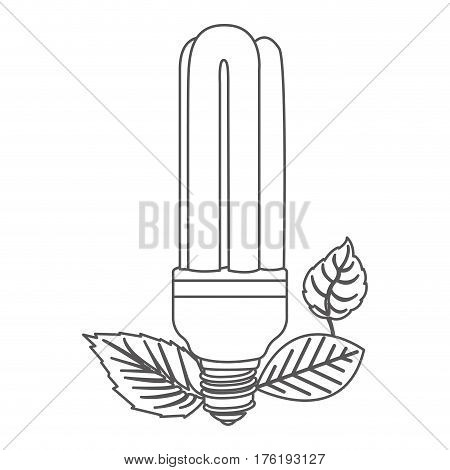 grayscale contour with fluorescent bulb and leaves vector illustration