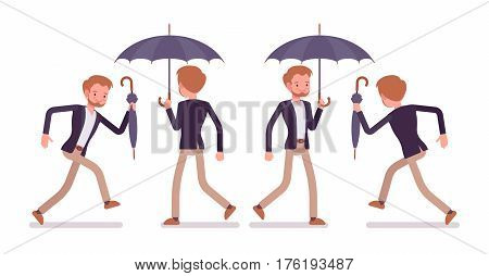 Set of young happy dandy wearing smart elegant casual wear, walking and running, holding fold and unfold black classic umbrella, in a hurry for date, full length, white background, rear and front view