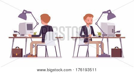 Set of young happy dandy in smart casual wear sitting at the office desk working at the computer, comfortable home-office, good working environment, full length, white background, rear and front view