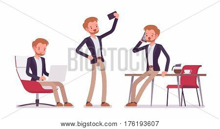 Set of young dandy in smart casual wear in office situations, comfortable coworking zone, sitting and working with laptop, talking on phone, taking selfie, isolated, white background, full length