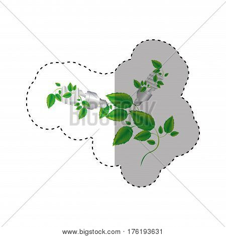 sticker colorful silhouette with two spiral fluorescent bulb and creeper plant vector illustration