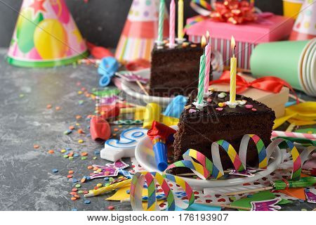 Accessories for children's parties on a gray background
