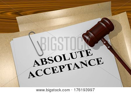 "3D illustration of ""ABSOLUTE ACCEPTANCE"" title on legal document poster"
