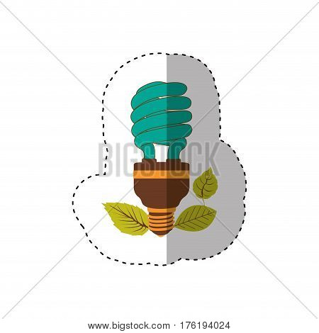 sticker of fluorescent bulb spiral in color turquoise and leaves vector illustration