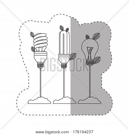 sticker with grayscale contour with Incandescent and fluorescent bulbs with stem and leaves vector illustration
