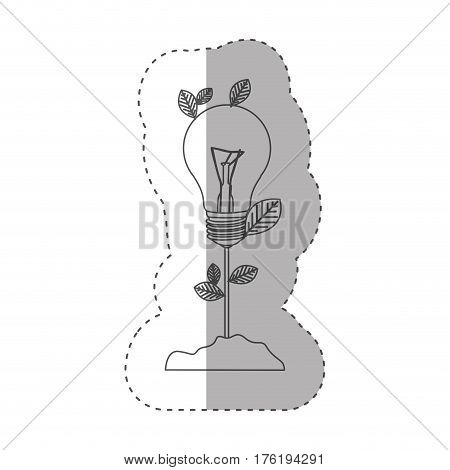 sticker with grayscale contour with plant stem with leaves and Incandescent bulb vector illustration