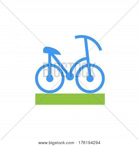 Vector icon or illustration showing riding bicycle in material design style