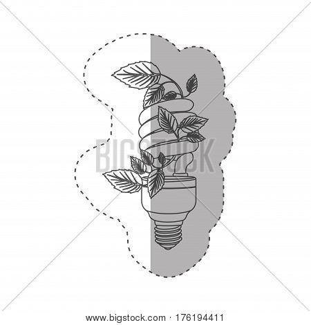 sticker with grayscale contour with spiral fluorescent bulb with creeper plant vector illustration