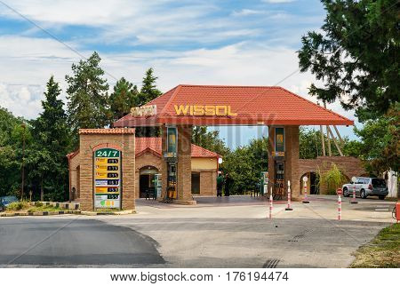 Signagi Georgia - Sent 16 2016: Wissol petrol station on the road in mountains at Kakheti region