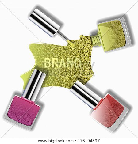 Is beautiful nail Polish, nail Polish spilled on white background, advertising, fashion design. Vector illustration.