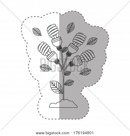 sticker with grayscale contour with plant stem with leaves and fluorescent bulbs spiral vector illustration
