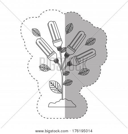 sticker with grayscale contour with plant stem with leaves and fluorescent bulbs vector illustration