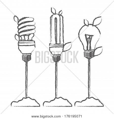monochrome sketch with Incandescent and fluorescent bulbs with stem and leaves vector illustration