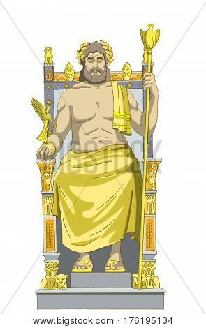 Statue of Zeus (wonders of the world) Isolated on white Background. Digital Painting Background Illustration in cartoon style character.