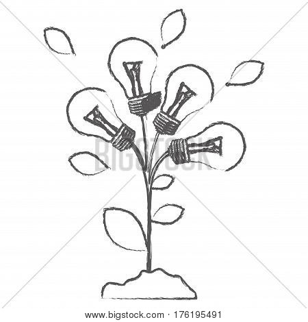 monochrome sketch with plant stem with leaves and Incandescent bulbs vector illustration