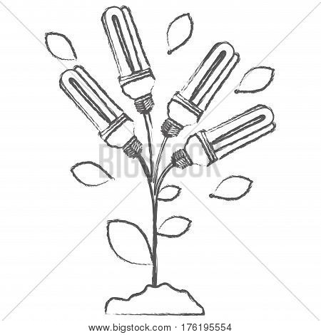monochrome sketch with plant stem with leaves and fluorescent bulbs vector illustration