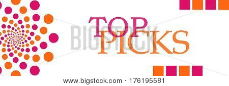 Top picks text written over pink orange background.
