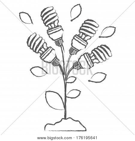monochrome sketch with plant stem with leaves and fluorescent bulbs spiral vector illustration