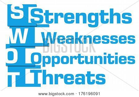 SWOT concept image with text written over blue background.