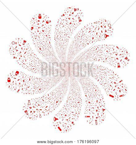 Chemistry Tubes fireworks swirl flower with ten petals. Vector illustration style is flat red scattered symbols. Object whirl combined from random icons.