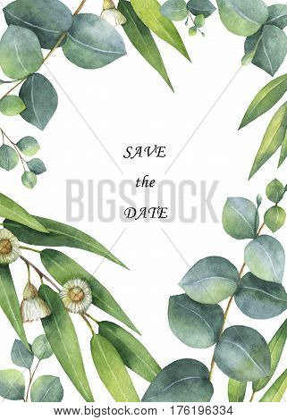 Watercolor hand painted vertical rectangular frame with eucalyptus leaves and branches isolated on white background. Healing Herbs for cards, wedding invitation, save the date or greeting design.