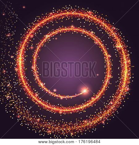 Gold glittering star dust spiral. Bright tail of a comet, stars trail passed with glow and glitter. Sparkling, colorful frame, template for your message