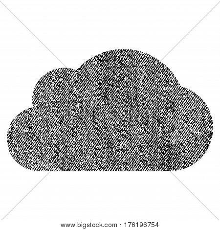 Cloud vector textured icon for overlay watermark stamps. Fabric black vectorized texture. Symbol with unclean design. Rubber seal stamp with fiber textile structure.