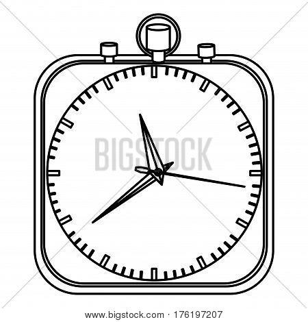 monochrome stopwatch in shape square vector illustration