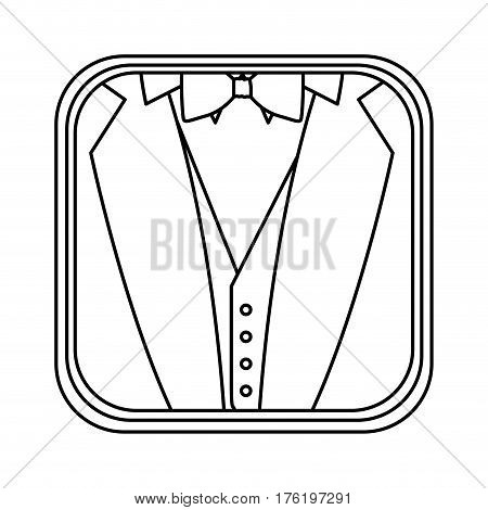 monochrome rounded square with background of formal suit vector illustration