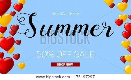 Sale banner on blue background with inflatable balloons and typography for luxury sales offers. Modern, colorful design with red and yellow inflatable balloons. Vector illustration, eps 10