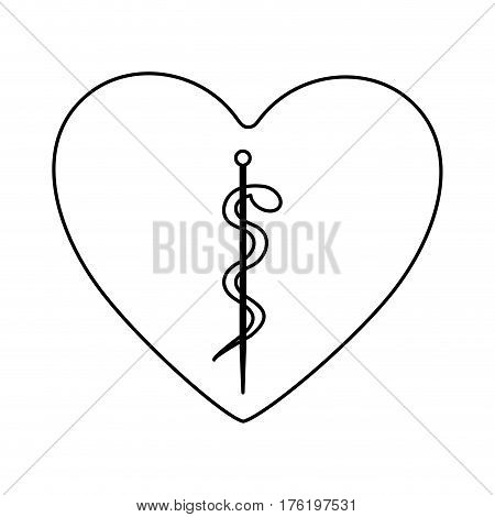 monochrome silhouette of heart with asclepius snake coiled vector illustration